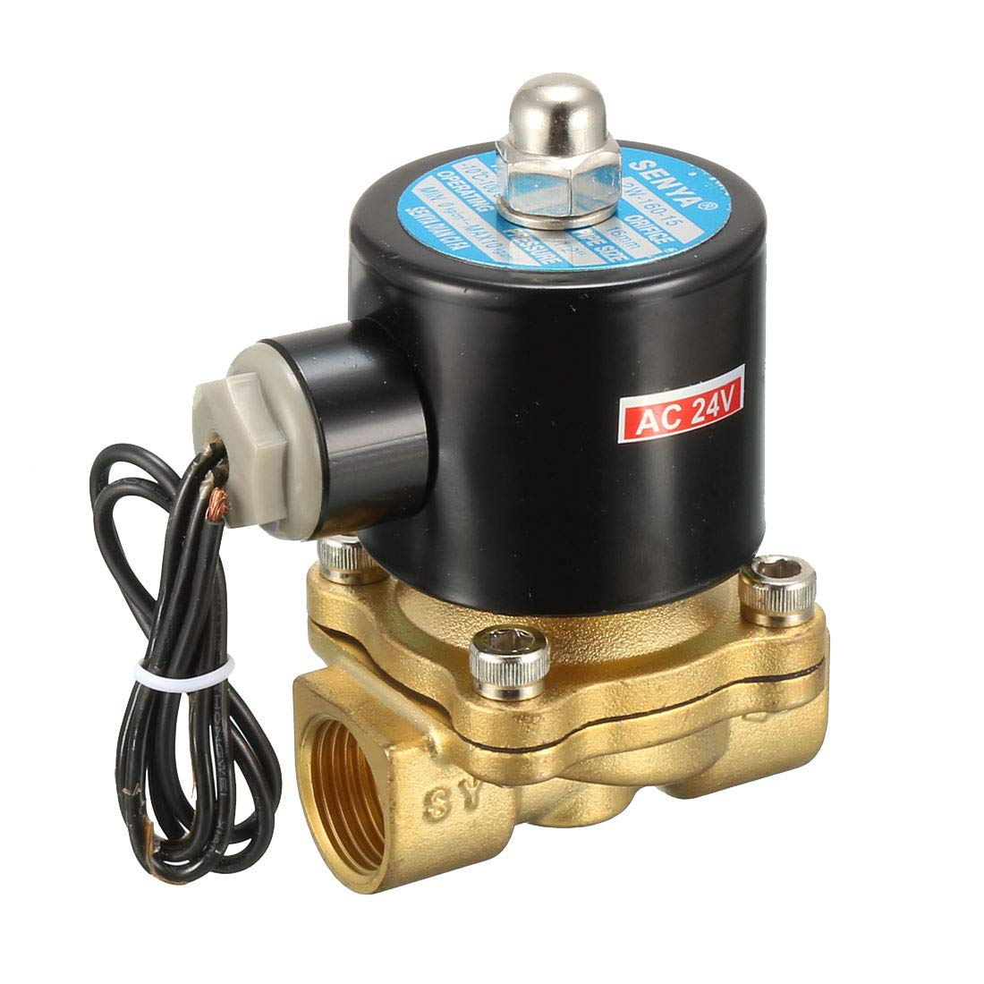 uxcell DC 12V 2W160-15 BSP 1//2 inches Normally Closed 2 Way N//C Brass Solenoid Valve for Water Air Gas Fuels