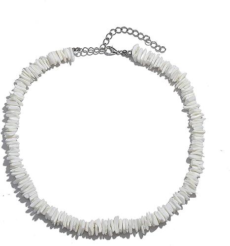 ATIMIGO Natural Puka Shell Choker Necklace for Women Girls,Handmade Adjustable Sea Shell Clam Chips Hawaii Beach Necklace Jewelry for Men