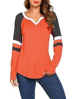dfbdae3e Women's Long/Short Sleeve V Neck Raglan Shirts Loose Blouse Tops Casual  Striped Tunic Tee