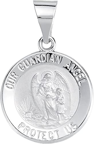 FB Jewels 14k White Gold 15mm Round Hollow Guardian Angel Medal