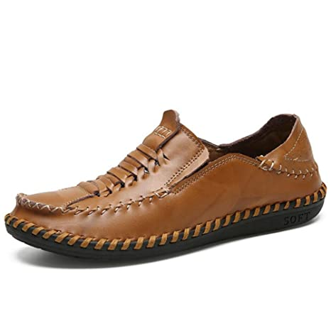 Amazon.com: Mens Loafers 2018 Mens Four Seasons Leather Fashion/Vintage Hand-knitted Shoes Casual Shoes Loafers & Slip-Ons Driving Shoes (Color : Brown, ...