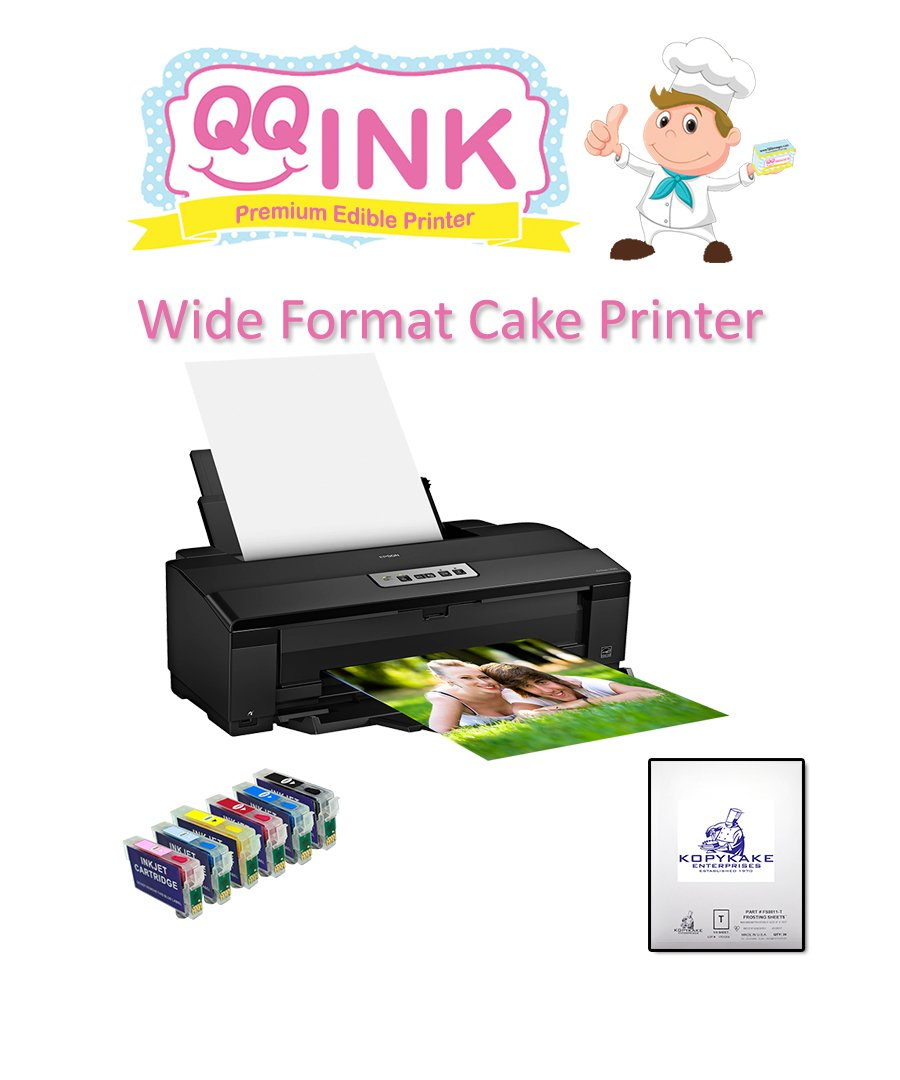 QQink Wide Format Cake Printer Bundle - Epson Printer comes with Edible Ink & KopyKake Frosting Sheets