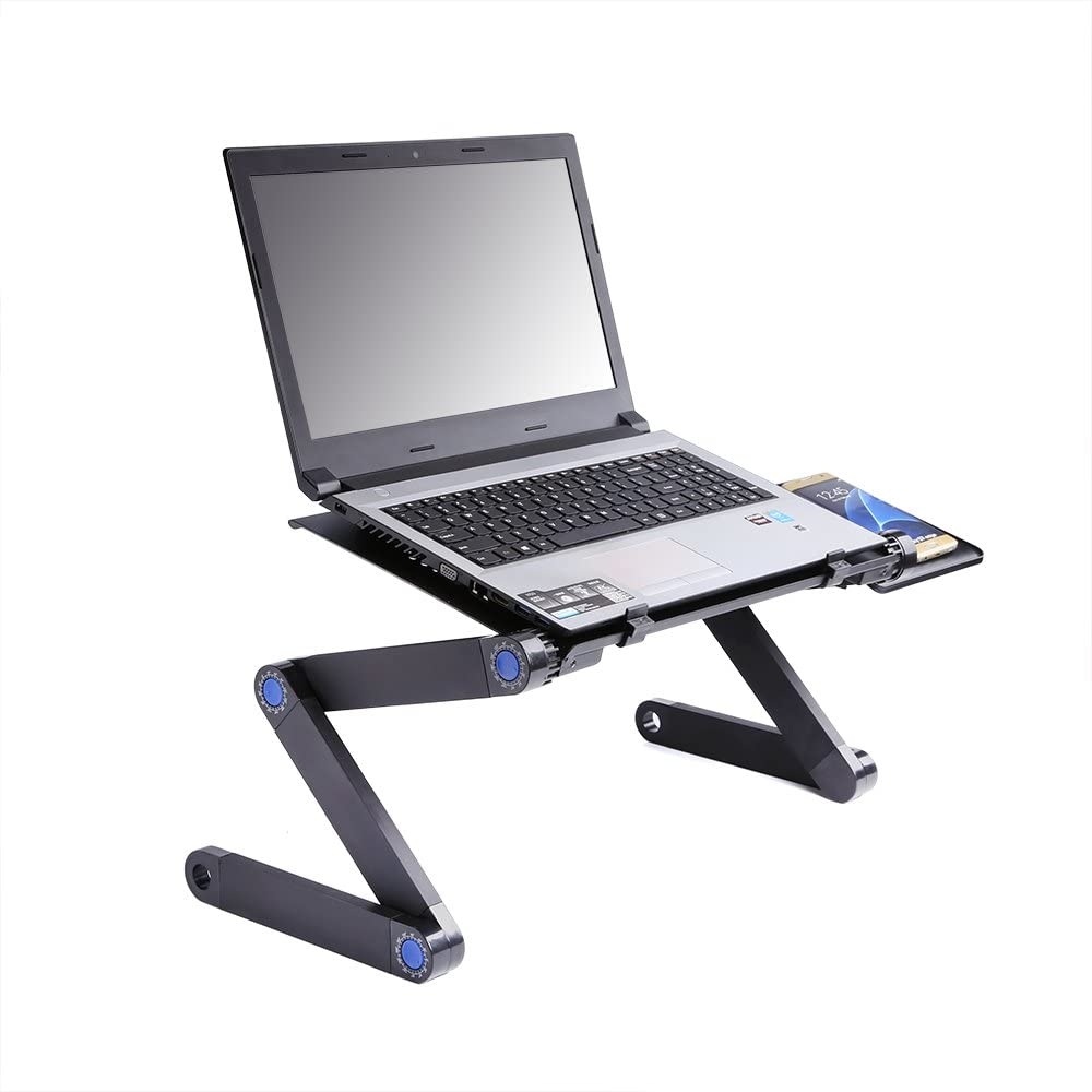 Portable Adjustable Aluminum Laptop Desk,Ergonomic Cooling Notebook Table Desk Stand Lazy Lap Sofa Bed PC Notebook Desk Table Tray with CPU Fans