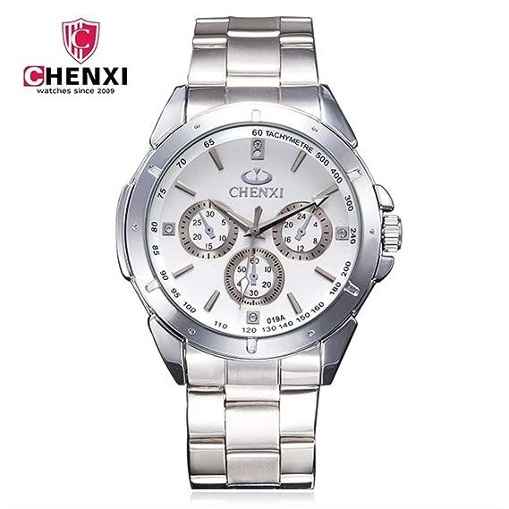 Relojes CHENXI Reloj de Marca para Hombres de Negocios Reloj no mecánico para Hombres Correa de Acero Reloj de Cuarzo 019A Vestido de Reloj: Amazon.es: ...