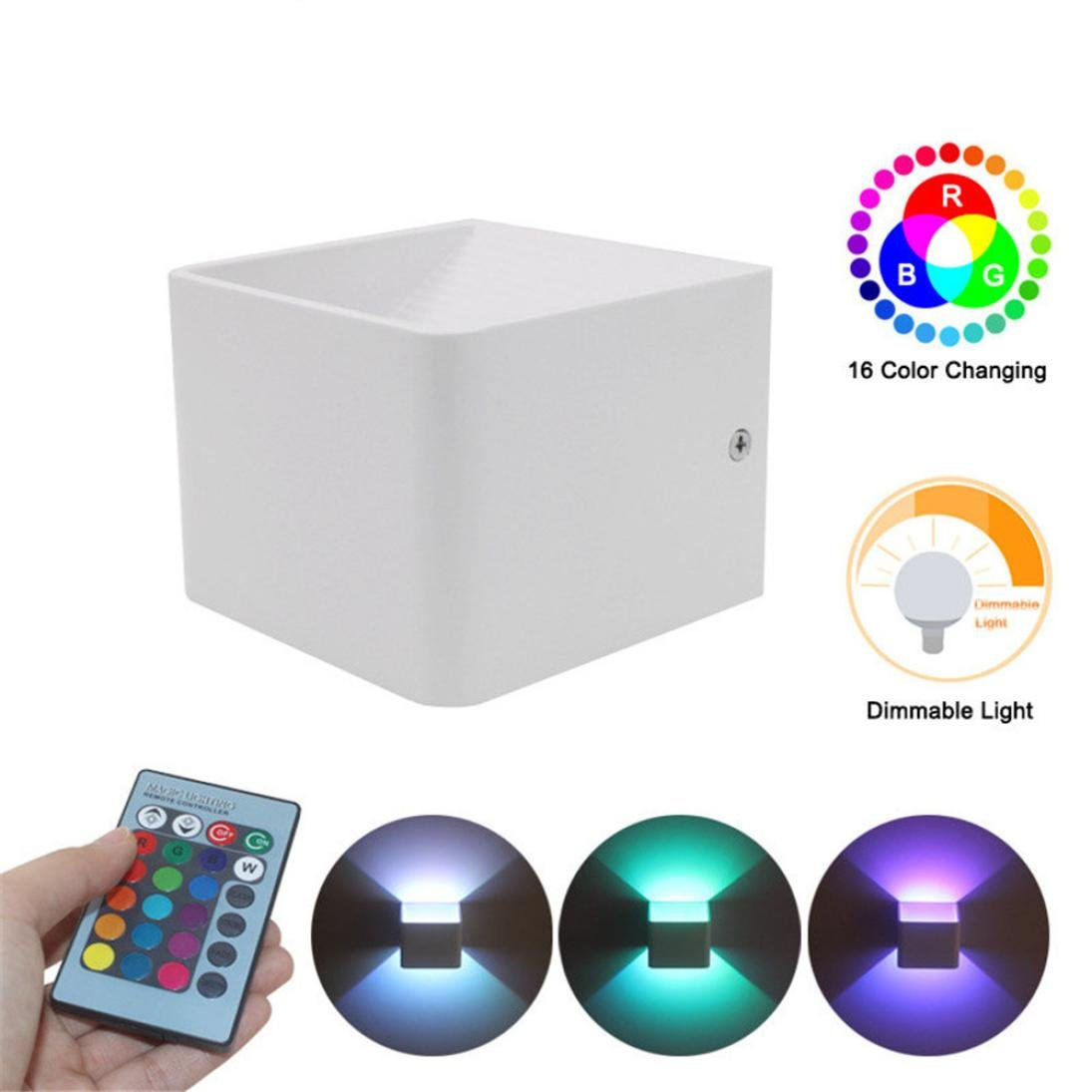 Iuhan Wall Sconces, Wall Lights LED 3W Aluminum Colorful RGB Light Wall Sconces Home Decoration (white)