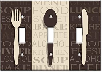 Art Plates 3 Gang Toggle Oversize Switch Plate Over Size Wall Plate Fork Knife And Spoon Amazon Com