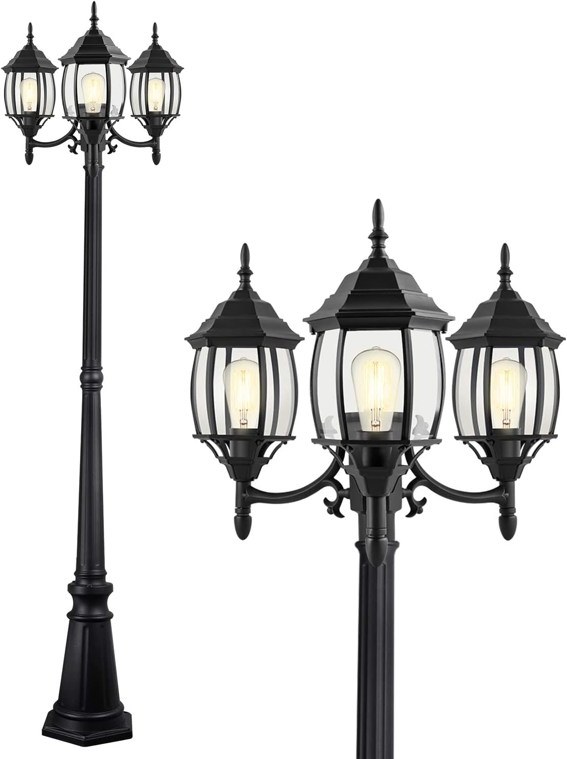 PARTPHONER Outdoor Lamp Post Light 3-Head, Classic Black Light Pole with Clear Glass Panels, E26 Base Maximum 100W ( 3 LED Bulbs Included ), Waterproof Street Light for Backyard, Garden, Driveway