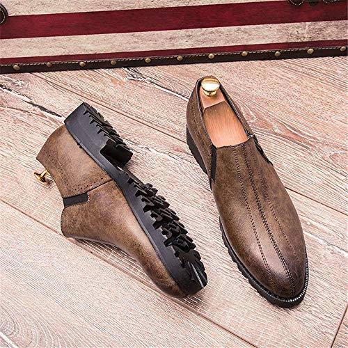 Puntiagudos Marrón Antideslizantes Oxford Color de Hombres Negocios para Casual sólido Zapatos Oxford Casual de Oxford wxBqIg6p