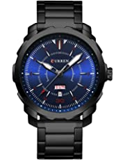 CURREN Men's Watch Stainless Steel Band Wristwatches Waterproof Quartz Watches with Calendar for Men 8266
