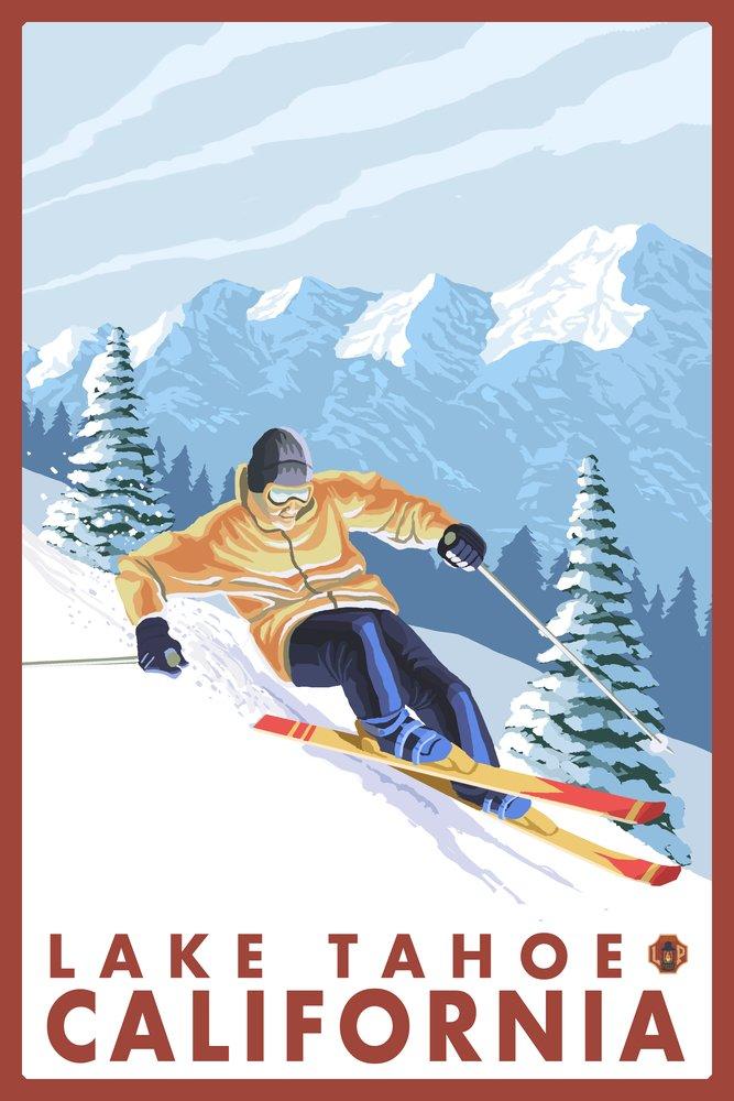 滑降雪スキーヤー – Lake Tahoe、カリフォルニア Canvas 16 Tote Tote Giclee Bag LANT-14199-TT B00N5CNSF4 16 x 24 Giclee Print 16 x 24 Giclee Print, 和すいーつ hatahata:d51df20b --- rdtrivselbridge.se
