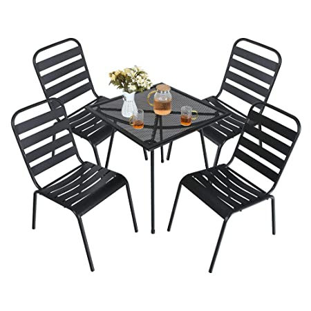 MF STUDIO 5 Piece Black Metal Outdoor Backyard Bistro Tea Set Steel Mesh Frame Slat Seat Patio Furniture Set, 4 Dining Arm Chairs with Angle Back and Square Metal Mesh Coffee Table, Black