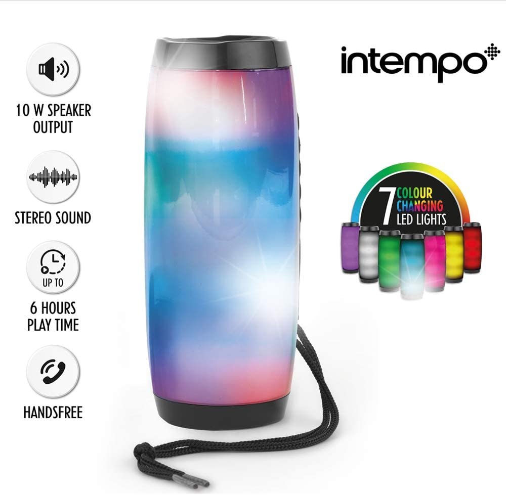 INTEMPO® EE4878BLKSTKUK Rechargeable Bluetooth LED Light up Speaker for iPhone, Android and Other Smart USB Devices, 10 W, 10 m Bluetooth Range with Micro USB Charging Cable