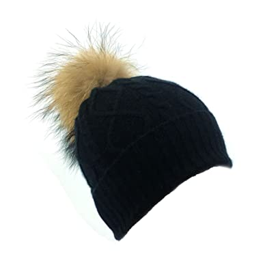 0f857185a74bea Dilly Fashion Girls Cashmere Merino Wool Blend Real Fur Detachable Pompom  Beanie Hat (Black)