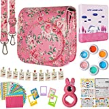 Flylther Compatible Mini 8 8+ 9 Camera 8-in-1 Accessories Bundles Set for Fujifilm Instax Mini 8 8+ 9 Instant Film Camera (Case, Albums, Frames, Film Stickers,Colored Filters,Selfie Lens)- Pink Rose