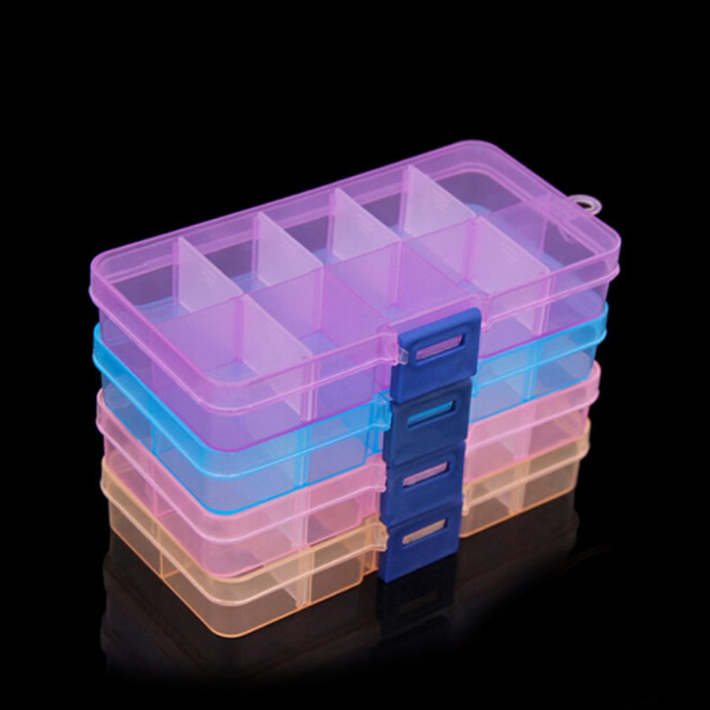 TIMLand Clear Plastic Storage Box, 10 Compartments Small Durable Small Accessories Container for Beads Earring Jewelry - Blue by TIMLand (Image #3)