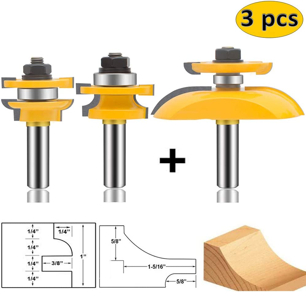 LEATBUY 3 PCS Router Bit Set, 1/2-Inch Shank Round Over Cove Raised Panel Cabinet Door Rail and Stile Router Bits, Woodworking Wood Cutter, Wood Carbide Groove Tongue Migue Milling Tool (1/2, D31A)