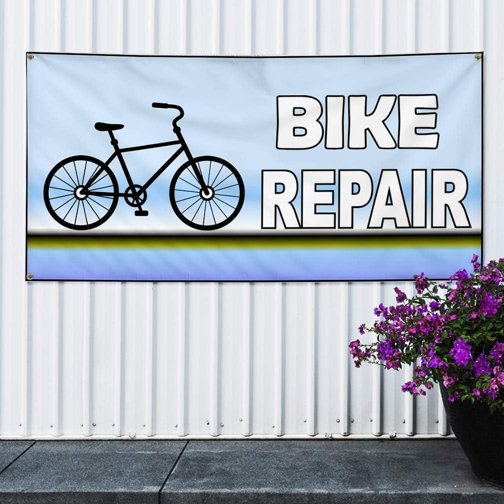 One Banner 44inx110in Vinyl Banner Sign Bike Repair Blue White Black Bike Repair Marketing Advertising Blue 8 Grommets Multiple Sizes Available