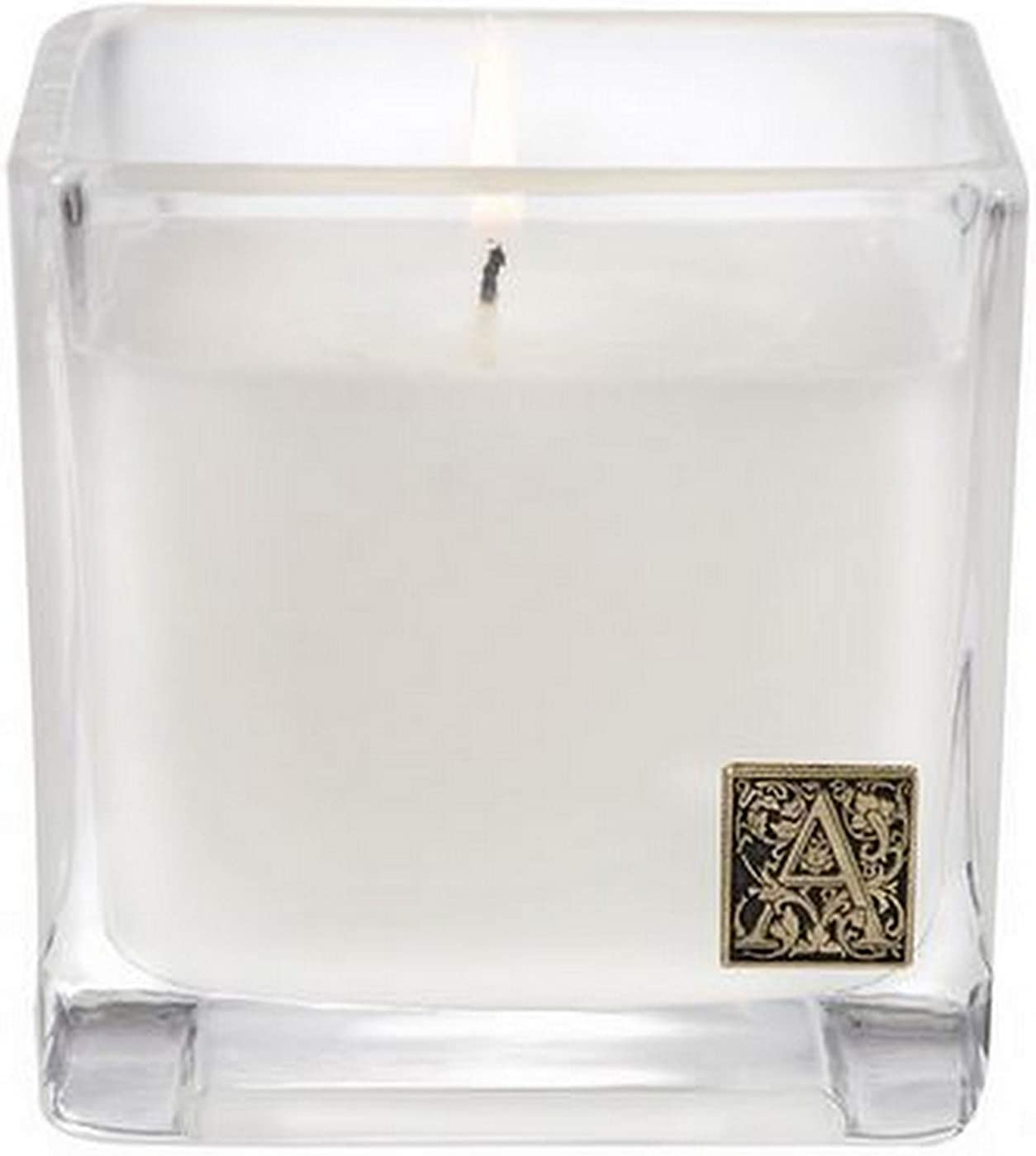 Aromatique The Smell of Spring Glass Cube 12 oz Scented Jar Candle with Metal Medallion for Home Décor and Gift