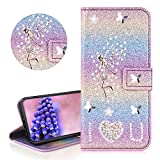 YiCTe for iPhone 11 [Not for iPhone 11 Pro] Wallet Case,Luxury Bling Diamond Glitter Rhinestone Angel Fairy Flip Cover Shiny PU Leather Stand Case with Card Slot Magnetic Closure,Rainbow#2