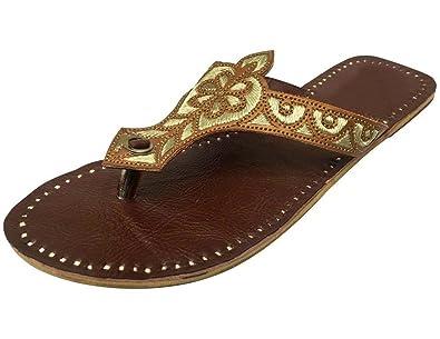 Schritt N Style Frauen Schuh flach Komfortables Sandale Kolhapuri handgefertigt Traditionelle jutti, Braun - braun - Größe: 38