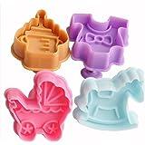 SUNJAS 4tlg Baby Geburt Spielzeug AusstecherAusstecher Ausstechform Keks Plätzchen Torten Fondant Kuchen Marzipan Backen Stempel Set Kit Deko mit Auswerfer
