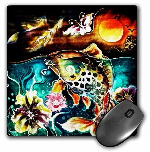 3dRose Dooni Designs Random Animals - Ornate Fish Flowers And Butterflies Under The Moon Nature Digital Art - MousePad - Fish Butterfly Ornate