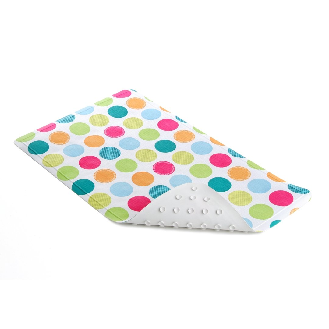 Con-Tact Brand 27-3/4-Inch by 15-1/4-Inch Printed Rubber Bath Mat, Colorful Spots BMAT-C02479-04