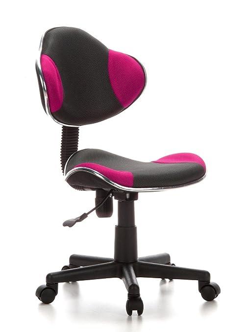 hjh OFFICE 670900 silla para niños KIDDY GTI-2 tejido gris / rosa, respaldo ergonómico, muy cómodo, alta calidad, altura ajustable, buen acabado, ...
