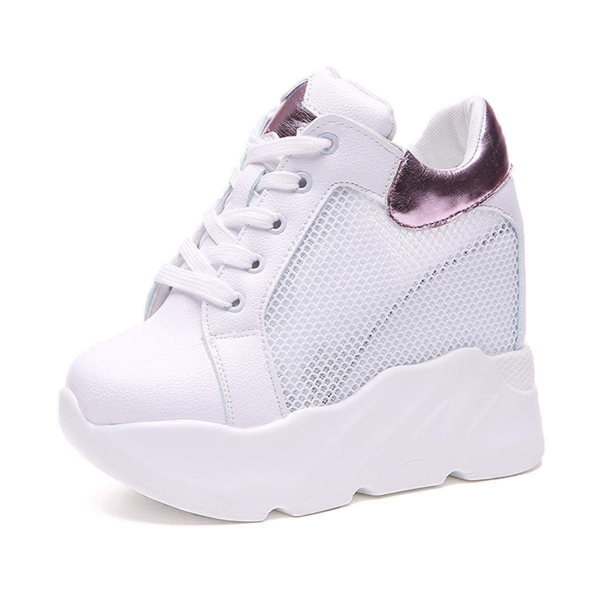 GTVERNH Damenschuhe/Mode/12Cm Hochgesprengte Damenschuhe Ausgehöhlten Atmungsaktives Mesh Schuhe Kuchen Casual Schuhen Im Frühling und Sommer Piste Schuhe Gestiegen
