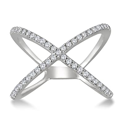 Amazon AGS Certified 1 2 Carat TW Diamond Criss Cross X Ring