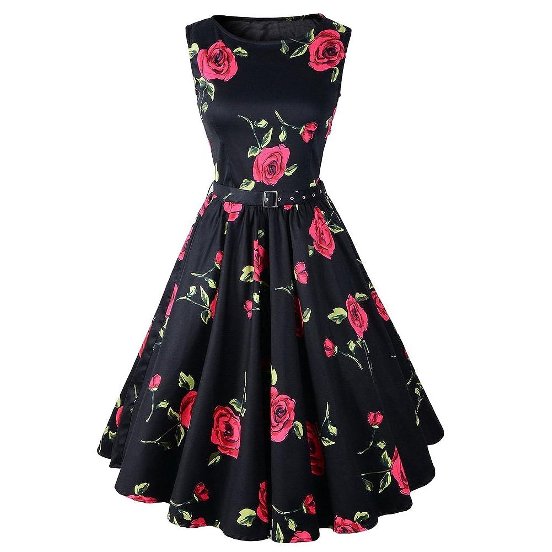 Vintage Blumen Swing-Pinup Rockabilly kurze Hülsen Abend Partei Kleid 1950