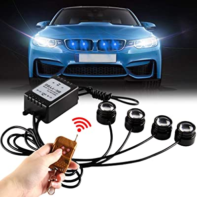 Yifengshun 4 In 1 Blue LED Eagle eye Emergency Warning Strobe Lights for Trucks Motorcycle Car Accessories Day Running Light DRL Wireless Remote Control 12V: Automotive