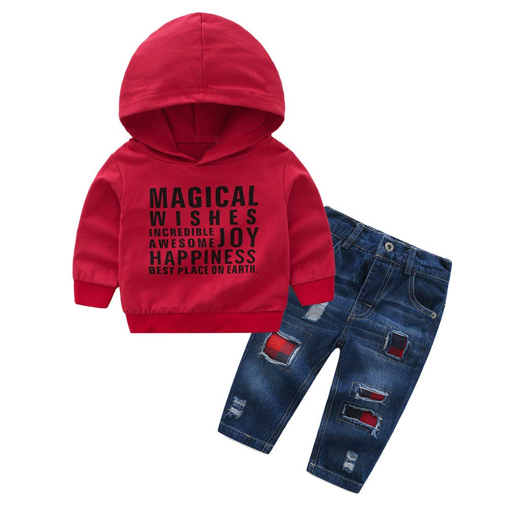 Fartido Infant Baby Boys Girls Letter Print Hooded Tops + Denim Pants Clothes Set (4 Years)