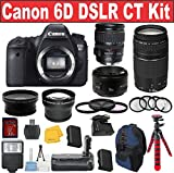 Canon EOS Rebel 6D Digital SLR Camera + Canon 28-135 USM Lens + Canon 50 1.8 Portrait Lens + Canon 75-300 III Zoom Lens - International Version