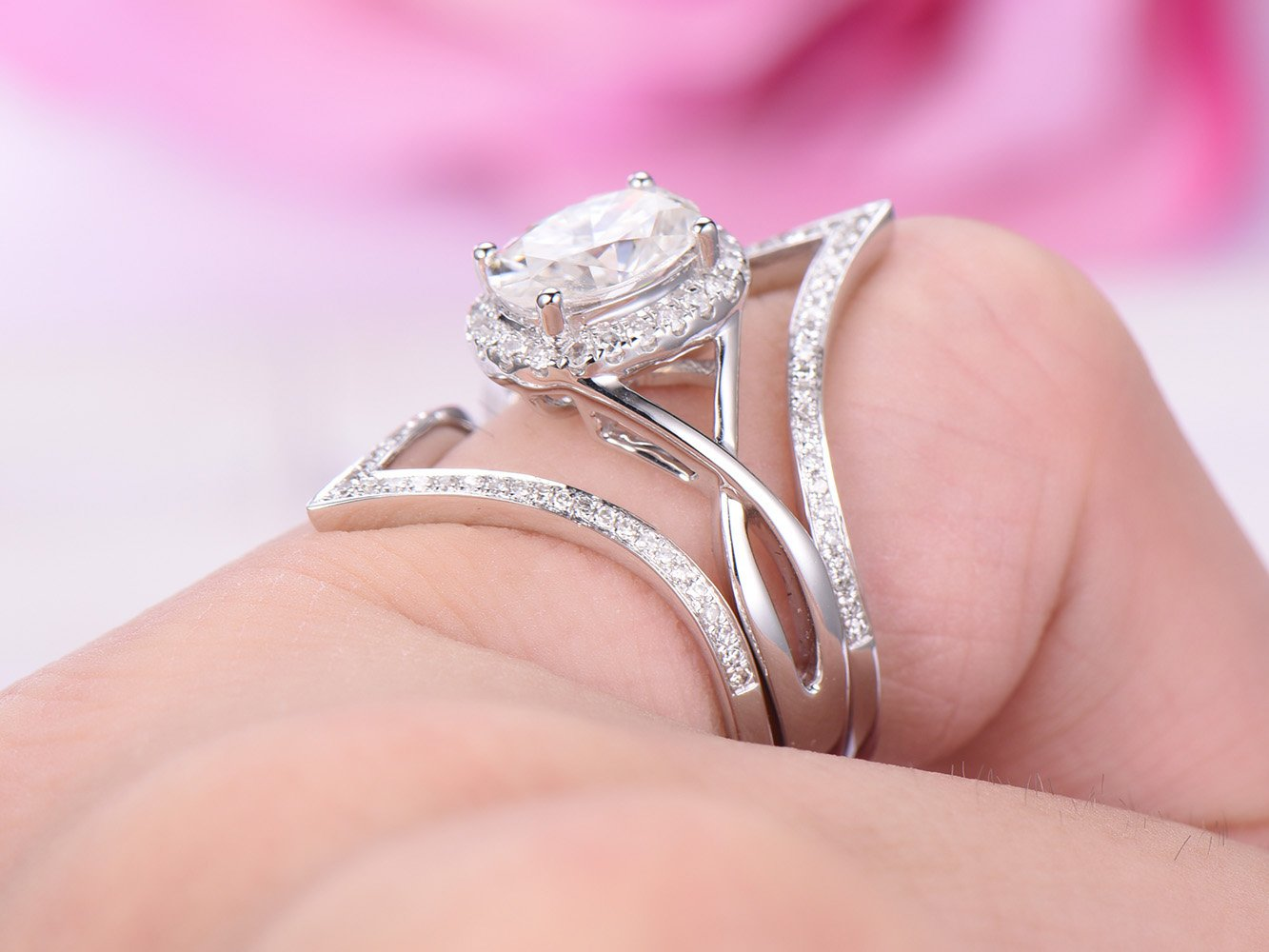 Amazon.com: Oval Moissanite Engagement Ring Set Pave Diamond Chevron ...
