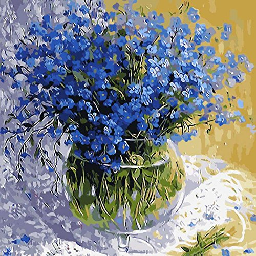Paint By Number Kit Image Drawing On Canvas By Hand Coloring Arts Crafts & Sewing NEW Blue Floral