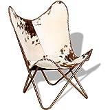 Festnight Butterfly Sessel Echtleder-Polsterung Loungesessel Klappstuhl Ergonomisch Relaxsessel 74 x 66 x 90 cm Braun und Weiß