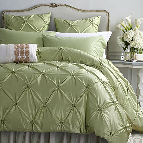 6-Piece Bedding Sets- Duvet Cover, Flat Sheet, Pillowcase Set (Light Green, Queen)