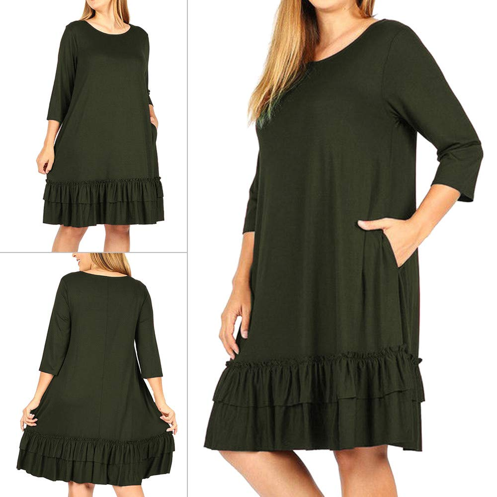 AMSKY Long Dresses for Women Formal,Fashion Women Solid Plus Size Three Quarter Cascading Ruffle Knee-Length Dress,Fashion Hoodies & Sweatshirts,Green,XXXL
