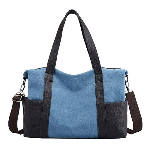 b3956d2795 Lonson Women s Canvas Work Tote Bag Weekend Travel Shoulder Bag Big Purse  (Blue)