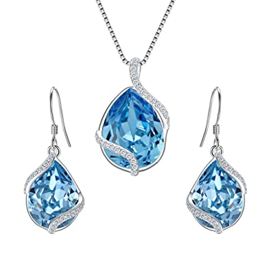 fb7b39823 EVER FAITH 925 Sterling Silver CZ Twist Teardrop Adjustable Pendant Necklace  Earrings Set Aquamarine Color Adorned