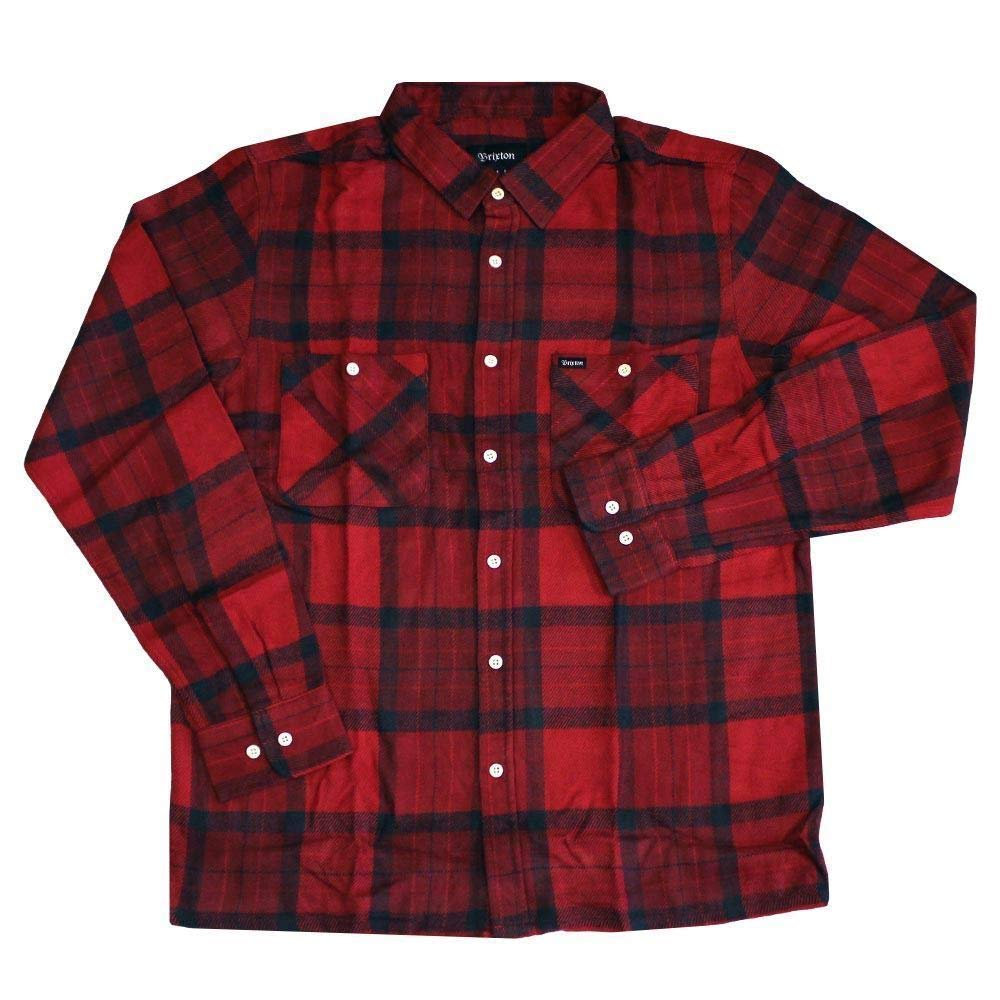 Brixton Milton Long Sleeve Flannel Shirt ROT