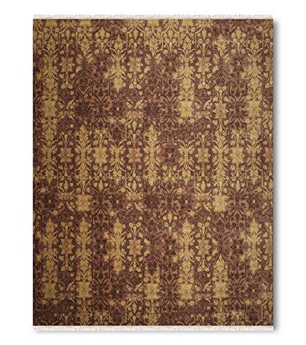 9'x12' Aurora Light Brown, Dark Brown, Mustard Green, Multi Handmade Persian Oriental Wool Oriental Area Rug