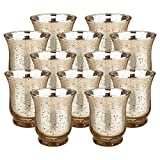 """Just Artifacts Mercury Glass HurricaneVotiveCandle Holder 3.5""""H(12pcs,Speckled Gold) - Mercury Glass Votive Tealight Candle Holders for Weddings, Parties and Home Décor"""