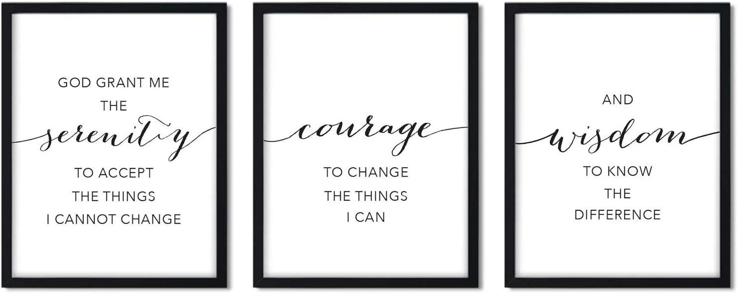 Andaz Press Unframed Black and White Christian Bible Verses Living Room Wall Art Decor, 8.5x11-inch, Serenity Courage Wisdom Prayer, 3-Pack, Biblical Quotes Modern Gift for New Couple