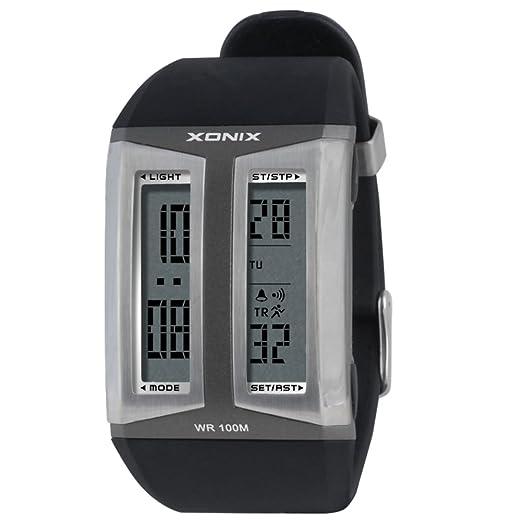 Moda reloj de,Personalizar relojes electrónicos luminosos deportes al aire libre de múltiples funciones impermeable piscina doble pantalla led-B: Amazon.es: ...