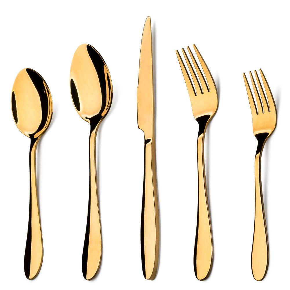 Gold Silverware Set, E-far 20-Piece Golden Stainless Steel Flatware Cutlery Set, Include Knives/Spoons/Forks, Mirror Polish, Dishwasher Safe - Service for 4