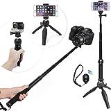 WiHoo Perche Selfie Stick Avec Trépied Et Bluetooth Remote Control Pour Gopro/ Caméra/iPhone 5/6/7 Plus/Samsung Smartphone (5-in-1 Kit/Accessories Pour Gopro, Téléphone, Caméra)