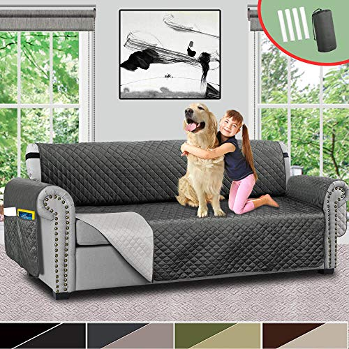 Vailge Sofa Covers for Dogs, Reversible Sofa Cover, Couch Covers for 3 Cushion Couch, Sofa Covers for Living Room, Sofa Slipcover with Strap/Pockets, Couch Covers for Dogs Kids(Sofa:Grey/Dark Grey)