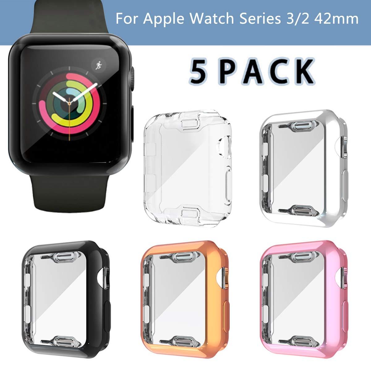 5 Fundas Para Apple Watch Series 3 (42mm) Tpu